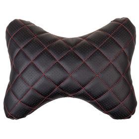 Подушка на подголовник Skyway экокожа, черная, строчка красная Ош