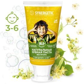 """Детская зубная паста """"Synergetic"""" клубничка и банан, от 3 до 6 лет желтая, 50гр"""