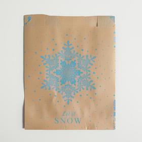 Пакет бумажный фасовочный, крафт, V-образное дно Let it snow, 16,8 х 13,5 х 5,5 см