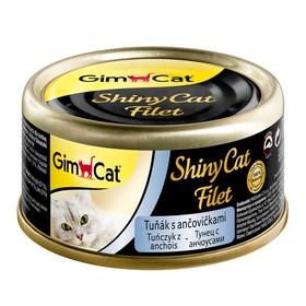 Консервы GIMCAT ShinyCat Filet для кошек, из тунца с анчоусами, 70 г