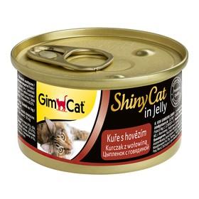 Консервы GIMCAT ShinyCat для кошек, из цыпленка с говядиной, 70 г