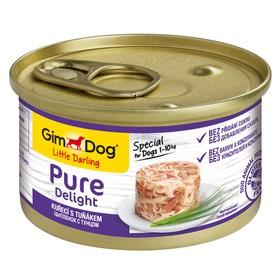 Влажный корм GIMDOG Pure Delight, для собак из цыпленка с тунцом, 85 г