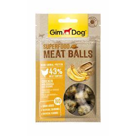 Лакомство GIMDOG superfood для собак, мясные шарики, из курицы с бананом и кунжутом, 70 г