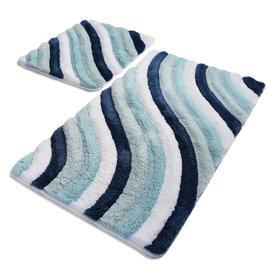 Комплект ковриков для ванной COLORFUL, 2 шт, 50 х 80 см, 40 х 50 см, акрил, цвет голубой
