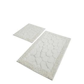 Комплект ковриков для ванной STONE, 2 шт, размер 60 х 100 см и 60 х 50 см, хлопок, цвет экрю