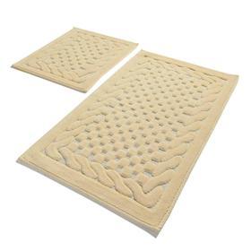 Комплект ковриков для ванной STONE, 2 шт, размер 60 х 100 см и 60 х 50 см, хлопок, цвет бежевый