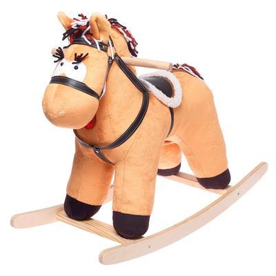 Качалка «Конь Свэн», музыкальная, цвет светло-коричневый - Фото 1