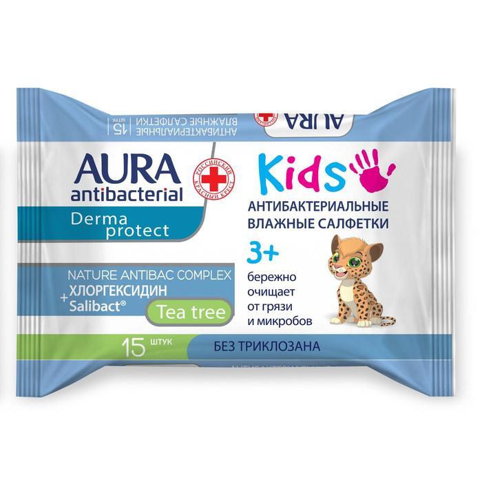 Влажные салфетки AURA, детские 3+, 15 шт.