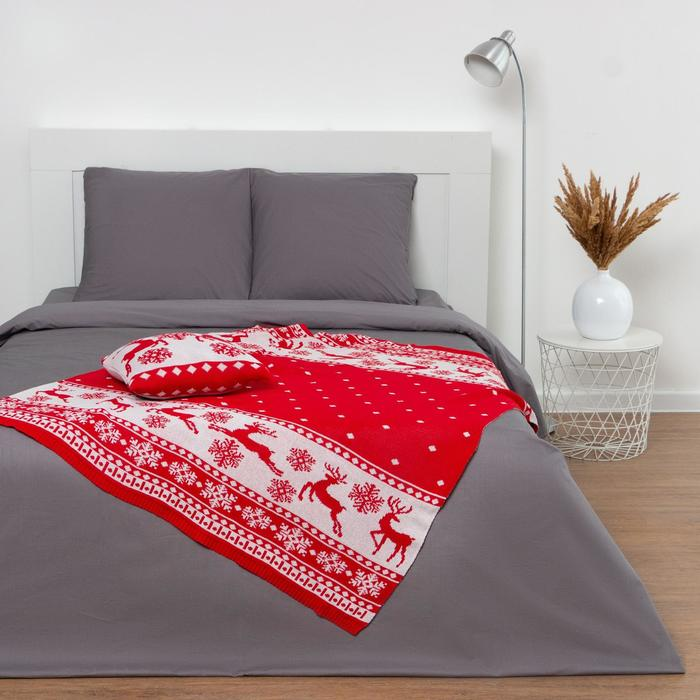 """Вязаный плед """"Этель"""" Рождественские олени, размер 130х180 см"""