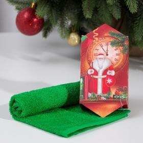 Полотенце махровое 'Новый год' 30х30 см, 100 хл 340г/м2 Ош