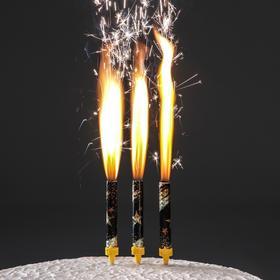 """Набор тортовых свечей """"Праздничные фонтаны со звёздами"""" 12,5 см (3 шт)"""