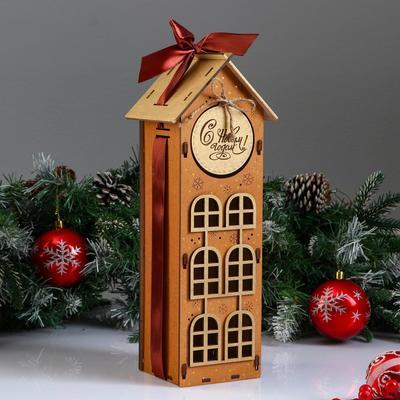 """Коробка деревянная, 13.5×11.5×36.5 см """"Новогодняя. Домик"""", подарочная упаковка, мокко - Фото 1"""