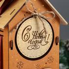 """Коробка деревянная, 13.5×11.5×36.5 см """"Новогодняя. Домик"""", подарочная упаковка, мокко - Фото 3"""
