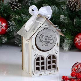 """Коробка деревянная, 13.5×11.5×21 см """"Новогодняя. Домик"""", подарочная упаковка, белый"""