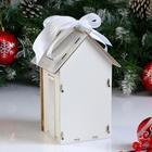 """Коробка деревянная, 13.5×11.5×21 см """"Новогодняя. Домик"""", подарочная упаковка, белый - Фото 2"""