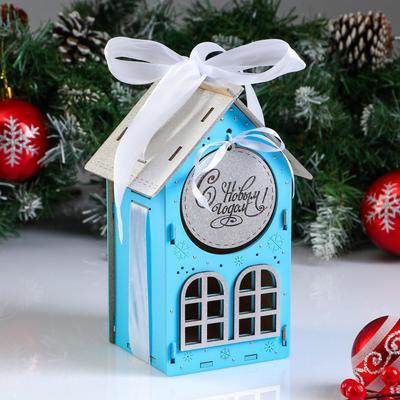 "Коробка деревянная, 13.5×11.5×21 см ""Новогодняя. Домик"", подарочная упаковка, синий - Фото 1"
