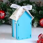 "Коробка деревянная, 13.5×11.5×21 см ""Новогодняя. Домик"", подарочная упаковка, синий - Фото 2"