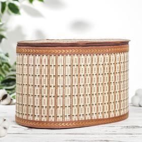 Корзина для хранения с крышкой, 30×20×19 см, бамбук, цвет светло-коричневый