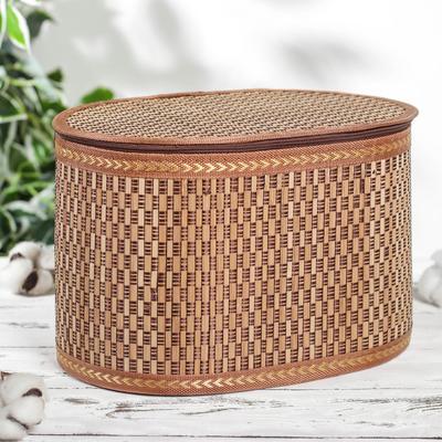 Корзина для хранения с крышкой, 30×20×19 см, бамбук, цвет коричневый