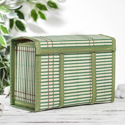 Корзина для хранения с крышкой, 30×15×20 см, бамбук, цвет зелёный