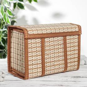 Корзина для хранения с крышкой, 30×15×20 см, бамбук, цвет светло-коричневый