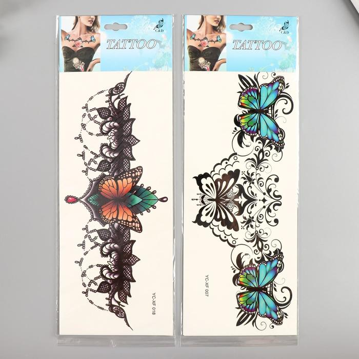 """Татуировка на грудь/спину цветная """"Кружево из бабочек"""" МИКС 34х12 см"""