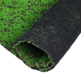 Мох искусственный, декоративный, полотно 1 × 1 м, зелёный на чёрном Ош