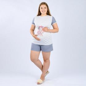 Костюм женский (футболка, шорты), цвет серый, размер 44