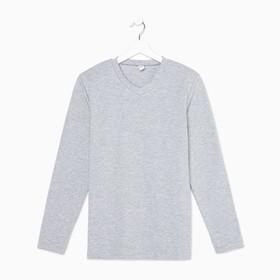 Футболка (лонгслив) мужской, цвет серый меланж, размер 46