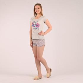 Костюм женский (футболка, шорты), цвет меланж/полоска размер 42