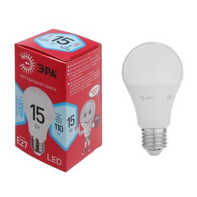 Лампа светодиодная ЭРА, A60, E27, 15 Вт, 4000 К, нейтральный белый - Фото 1