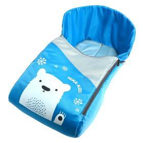 Сиденье для санок, цвет голубой, рисунок с медвежонком