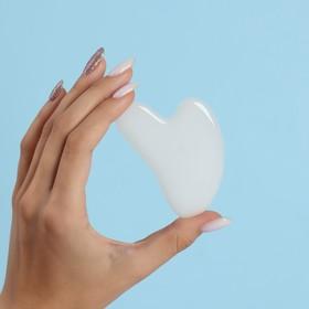 Массажёр Гуаша «Сердце», 7,5 × 5 см, белый агат
