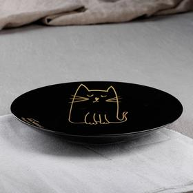 """Тарелка """"Кот"""" бронза, 19,5 см, черная глазурь"""