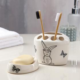 Набор для ванной 'Зайцы', 2 предмета, белый, деколь микс Ош