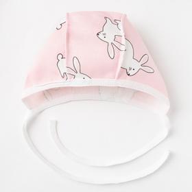 Чепчик детский, цвет розовый/зайцы, рост 56 см