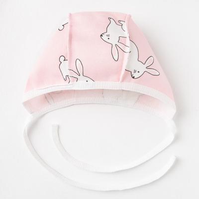 Чепчик детский, цвет розовый/зайцы, рост 68 см