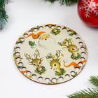 """Заготовка для вязания """"Круг. Новогодняя, Санта и олени"""", донышко фанера, размер 15 см - Фото 1"""