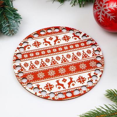 """Заготовка для вязания """"Круг. Новогодняя, Свитер с оленями"""", донышко фанера, размер 15 см - Фото 1"""