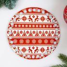 """Заготовка для вязания """"Круг. Новогодняя, Свитер с оленями"""", донышко фанера, размер 15 см - Фото 2"""