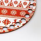 """Заготовка для вязания """"Круг. Новогодняя, Свитер с оленями"""", донышко фанера, размер 15 см - Фото 3"""