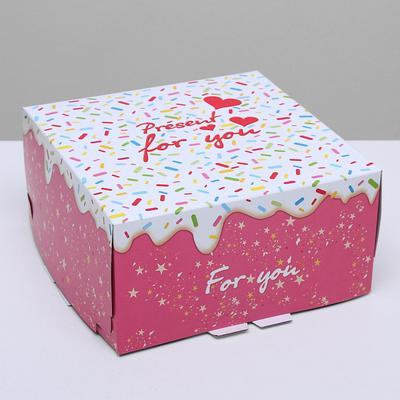 """Кондитерская упаковка, короб, """"Для тебя"""", 24 х 24 х 12 см, 1,5 кг"""