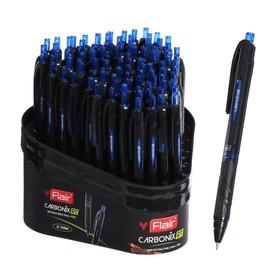 """Ручка шариковая автомат """"Flair"""" CARBONIX RT, узел 0.7мм, карбоновый корпус, синяя F-1364/син"""