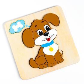 Мозаика «Собачка» 6 деталей, 15× 15 × 0.9 см