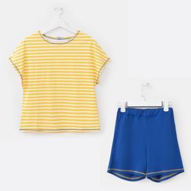 Костюм женский (футболка, шорты), цвет жёлтый/синий, размер 44