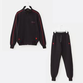 Костюм мужской (толстовка, брюки) цвет чёрный, размер 48 Ош