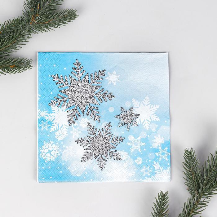 Салфетки бумажные Снежинки, 33х33 см, набор 12 шт.