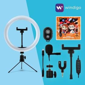 Набор Юного Блогера Windigo KIDS CB-99, кольцевая лампа, штатив, микрофон, пульт, переходник Ош