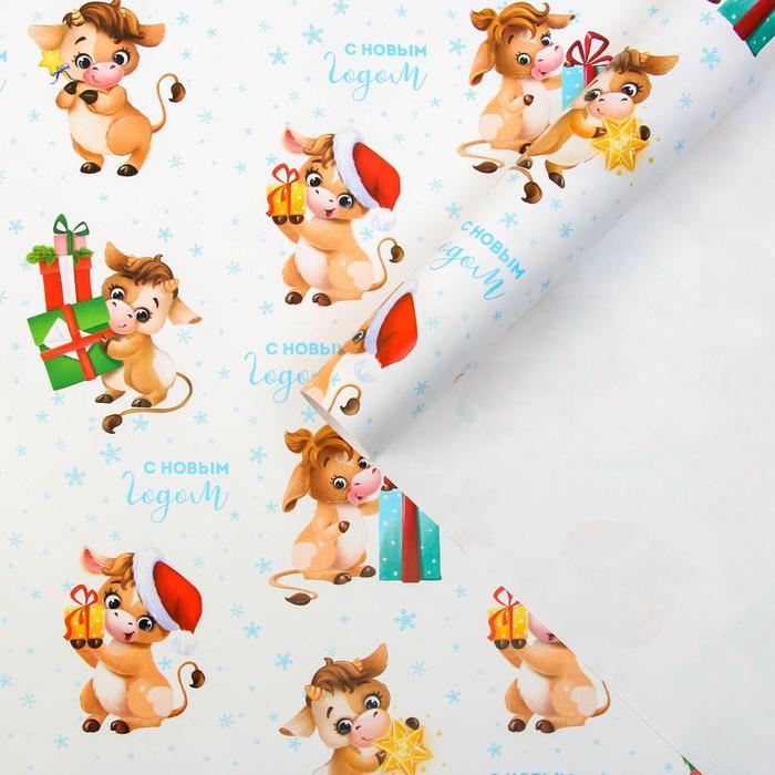 Бумага упаковочная глянцевая «Подарки», 70 × 100 см