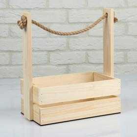 купить Кашпо деревянное 25.51530 см Аром, ручка канат, сосна